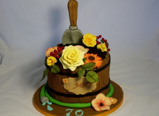 Barrel Of Flowers Cake The Great British Bake Off