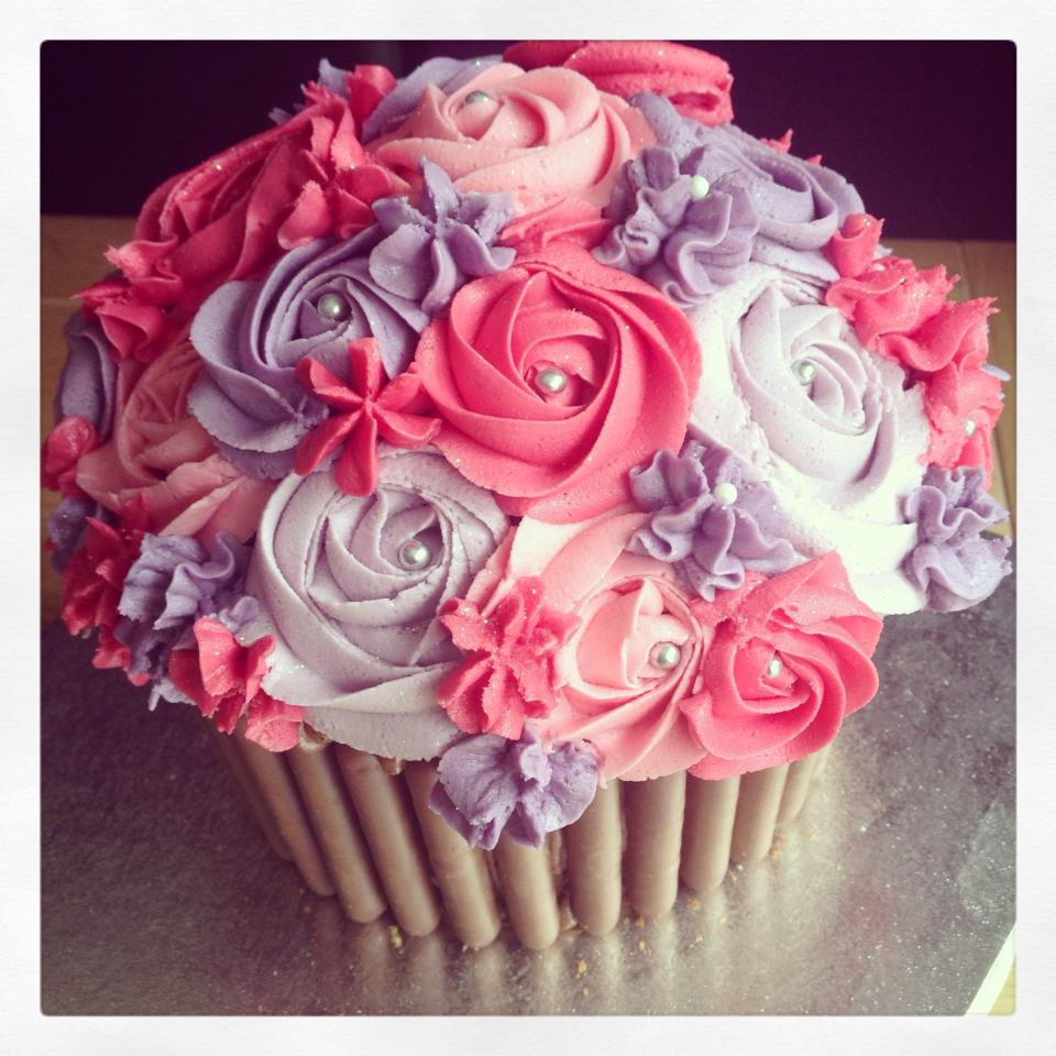 Cupcake Decorating Ideas Pink And Black : Pink & Purple Giant Cupcake The Great British Bake Off