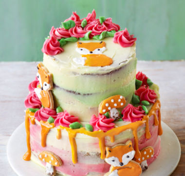Kim-Joy's Two-tier Lavender & Lemon Curd Fox Cake