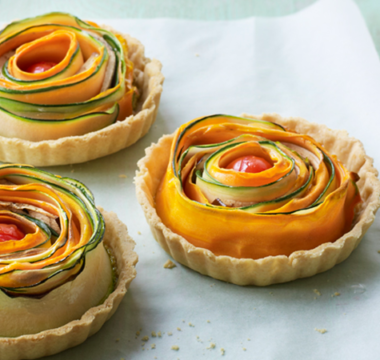 Rahul's Coriander Posto & Roasted Vegetables Rose Tartlet