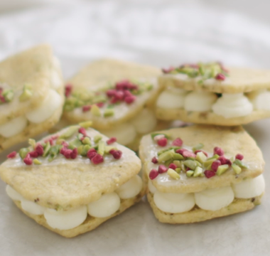 Kate's Pistachio & Raspberry Custard Creams