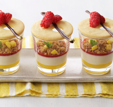 Prue Leith's Mango, Coconut & Raspberry Verrines