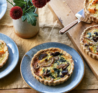 Hermine's Salmon & Leek, and Spinach & Mushroom Quiches