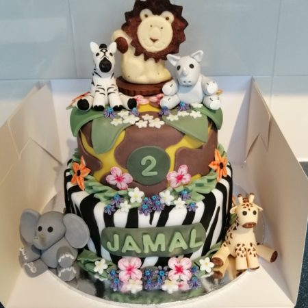 Superb Jungle Birthday Cake The Great British Bake Off Funny Birthday Cards Online Inifodamsfinfo