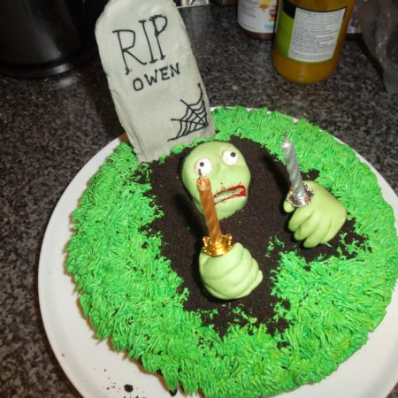 Awesome Zombie Birthday Cake The Great British Bake Off Personalised Birthday Cards Veneteletsinfo