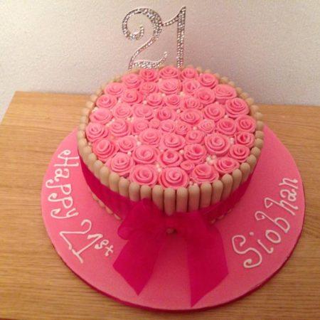 Sparkly Pink 21st Birthday Cake